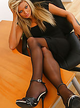 Miniskirt Tease, Naughty Jennifer lets her black minidress hit the floor as she strips in her office
