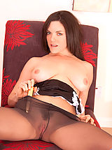 Pantyhose Pics: Naughty milf fucks her sweet pussy in her bedroom until she has multiple orgasms