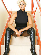 Red Skirts, Jo Guest in black pantyhose and thigh high boots