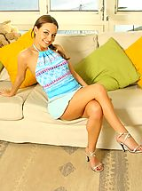 High Heels Legs, Carla in a gorgeous blue summer outfit with stockings.