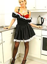 High.Heels Pics: Melanie in a sexy French maid's outfit with stockings and red bra and panties.