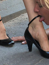 High.Heels Pics: Beautiful blond is put on a leash and walked like a dog in public