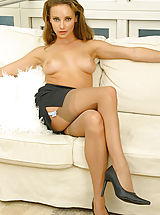 Stacey in secretary outfit with stockings