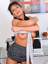 short skirts, Cougar Sarah Bricks fucks her sweet pink pussy using her magic wand on the chair