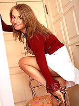 Pink High Heels, Will you let this beautiful teen girl with voluptuous body and sweet sport bring you on cloud seven?