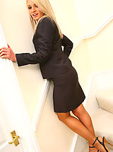 Only Tease Pics: Gorgeous Emma Claire in ther lovely secretary suit with pantyhose on