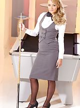 Secretary Fuck, Pool hustler Sara wearing tight fitting skirt suit and black stockings
