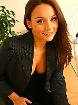 Secretaries, Carla looking as delightful as ever as she seductively strips of her sexy secretary outfit in the office