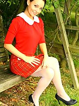 Stunning Carla in red college uniform and white pantyhose.