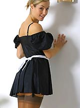 Naughty Office, Melanie in a french maids outfit.