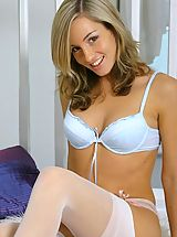 lingerie models, Grogeous Mel in sexy blue lingerie and stockings
