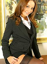 Naughty Office, Carla in a smart suit with sexy lingerie.
