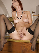 seamed stockings, Ariel in Bartender - Ariel