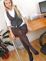 Only Tease Pics: Beauty blonde comes to work in sexy shorts and gorgeous grey pantyhose