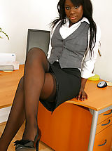 Delightful office girl Ola strips from her suit skirt