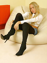 Pantyhose Pics: Lucy Anne looking as gorgeous as ever with denim mini and wool pantyhose