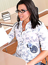 Sexy Secretary, Danica Dillan keeps her scholarship by fucking in the classroom.