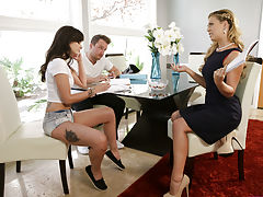 Gia Paige and her boyfriend Van Wylde are trying to beat the heat by working on their homework when Gia's stepmom Cherie Deville joins them with a bowl of ice cubes.