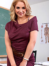 Sexy Secretaries, Busty hot blonde teacher is wet, horny and ready to suck and fuck her big cocked student on her desk.