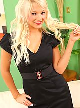 Naughty Secretary, Only Secretaries, Bubbyly blonde in a tight black dress