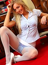 High Heels Legs, Hayley-Marie looks sensational in her tight blouse, white miniskirt and matching high heels.