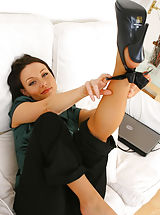 Legs High Heels, Sexy Carla looks glorious as she teases her way out of her black secretary out Non Nude