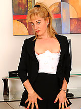 Classy Legs,Bored secretary finds stuff inside the office to stuff inside her lonesome pussy