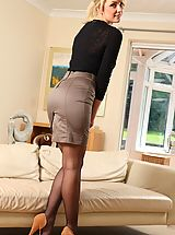 Sexy Secretaries, Stacey treats us to flashes of her holdup  her miniskirt