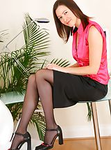 High.Heels Pics: Carole looking stunning in satin top and tight skirt. Non Nude