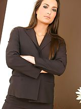 Secretary Pics: Gorgeous brunette Isla looks stunning in her sexy brown secretary outfit Non Nude