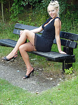 Black High Heels, Michelle Manzer loves getting her sexy body and vintage nyloned legs out and about, flashing at her local park for the pleasure of onlookers...