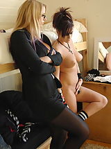 Stockings Pics: Secretaries in High Heels Miss Elise and Tina Higginson in November 2011