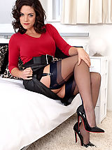 Stiletto Shoes, Brunette Rebekah Dee teases in vintage lingerie and nylons!