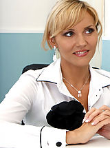 Hot Secretary, Anilos blonde Zlata gets horny while in the office