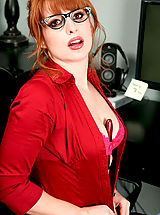 Amber Dawn, Red hot office exec Amber Dawn slides off her thong to masturbate with a dildo