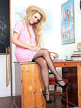 Michelle Moist - Sheer RHT nylons and panties in detention!