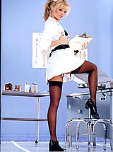 Naughty nurse Drew does her best to raise your temperature.