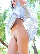white upskirts, Cassidy flashes her tits outdoors