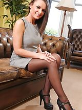 Siobhan the sexy secretary looks great in black stockings