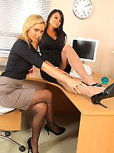 Office Sex, Bebe and Jenna J lock themselves in their office to strip each other out of their smart work clothes.