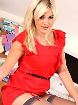 Amy in red secretary dress and stockings