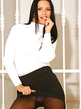 Naughty Office, Fantastic babe Mili in tights and miniskirt