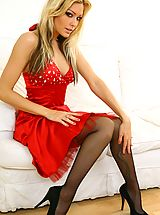Beauty Natasha looks stunning wearing red evening dress