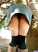 Upskirts, Tsukasa is a horny model who shows off her fine tits and ass as she is posing