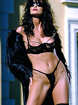 Lingerie Pics: Julie Strain in black on a hot desert resort, cum join her for meditative relaxation and massage.