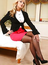 Secretary Alana looks amazing dressed in a black jacket and pink miniskirt after work. Non Nude