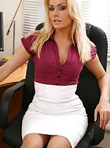 Secretary Sex, Blonde looks stunning in her office wearing a tight blouse and a tight long white skirt. Non Nude