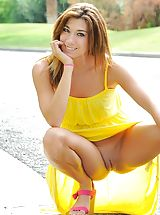 Short Skirts, Hannah is hot in yellow