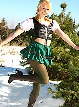 Tiny Skirts, Joceline looking stunning in fraulein outfit with boots and pantyhose.