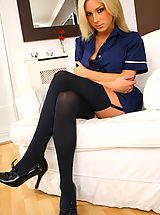 Naughty Office, Tindra looks amazing as she teases her way out of her sexy nurse�s uniform